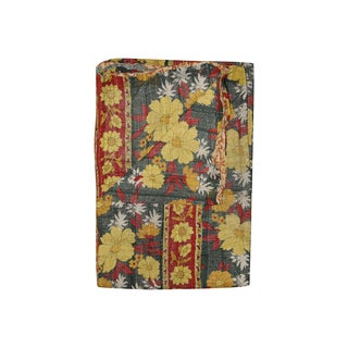 Vintage Handmade Red, Black and Yellow Kantha Throw