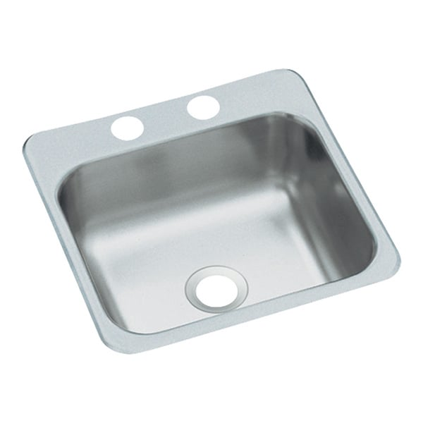 Secondary Self Rimming Stainless Steel 15x15x5-1/2 2-Hole Prep Sink
