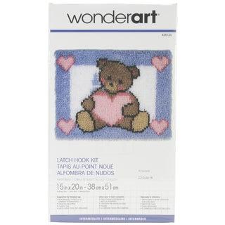 Wonderart Latch Hook Kit 15inX20inHeart Bear
