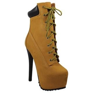 Urban Heels Women's Lug Sole High Heel Platform Booties