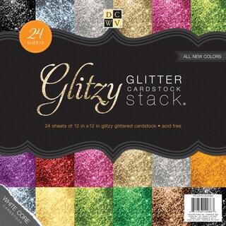 Paper Stack 12inX12in 24/PkgGlitzy Glitter W/White Core