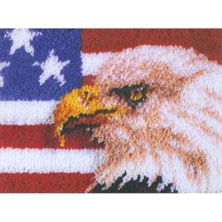 Wonderart Latch Hook Kit 15inX20inAmerican Eagle