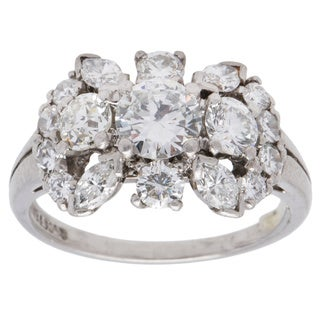 Platinum 2ct TDW Cluster Diamonds Estate Ring (F-G, VS1-VS2) (Size 6.25)