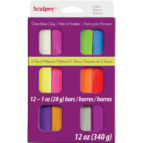 Sculpey III Polymer Clay Multipack 1oz 12/PkgBrights