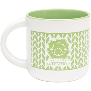 Knit Happy Knit Around Mug 14ozLime