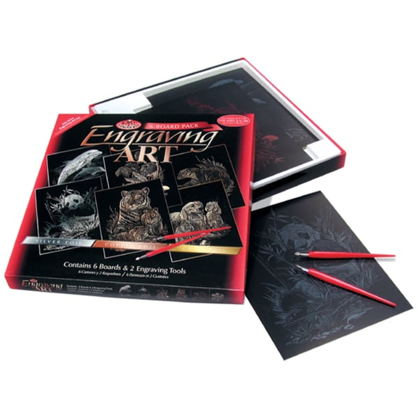 Foil Engraving Art Kit Value Pack 8inX10inDolphin, Panda, Tiger, Mice, Pups, Otter