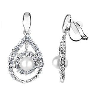 Pearl Tear Drop Clip On Earrings