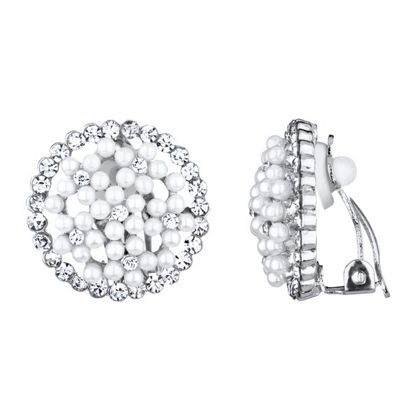 Pearl Button Clip On Earrings