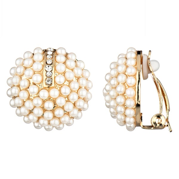 Pearl Cluster Button Clip On Earrings 16229746