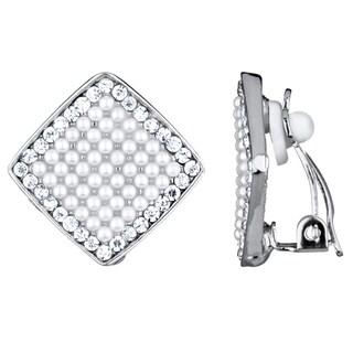 Women's Pearl and Rhinestone Clip-On Earrings
