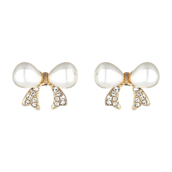 Imitation Pearl Bow Earrings