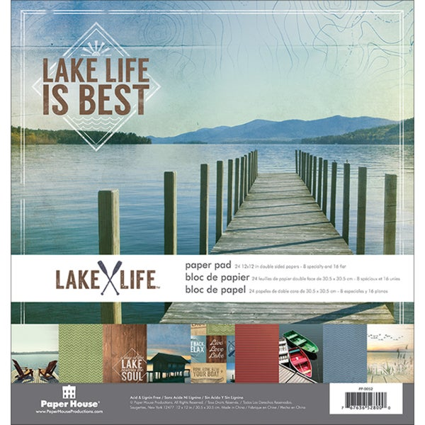 Paper House DoubleSided Paper Pad 12inX12in 24/PkgLake Life
