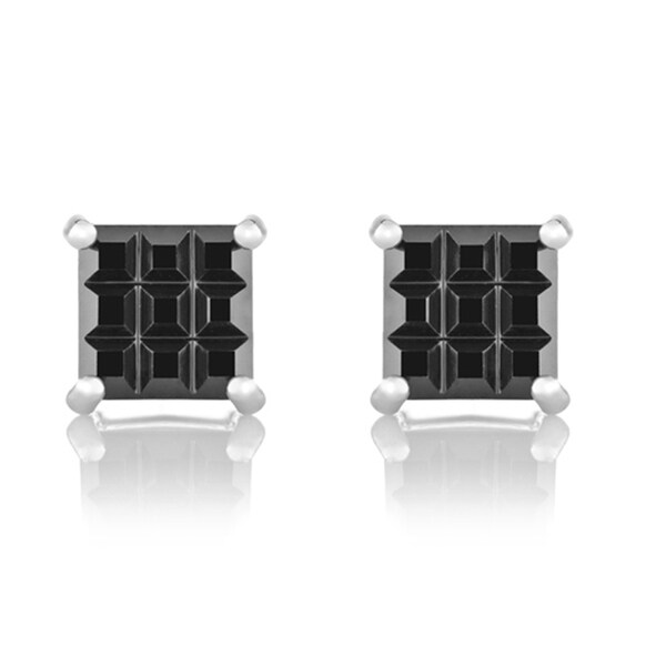 CZ Checkerboard Square Cut Stud Earrings