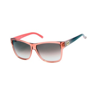 Gucci GG 3579/S Brown Gradient Leses Translucent Pink / Torquoise Frame Sunglasses