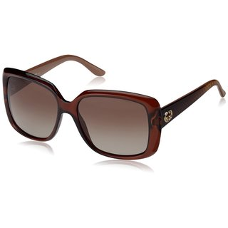 Gucci GG 3574/S Polarized Brown Gradient Lenses Translucent Brown Frame Sunglasses