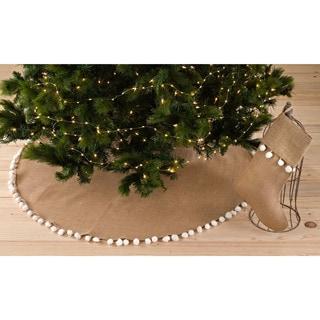 Pompom Design Jute Stocking or Tree Skirt