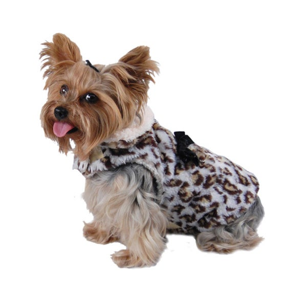 ANIMA Leopard PrintFleece Lined Dog Coat