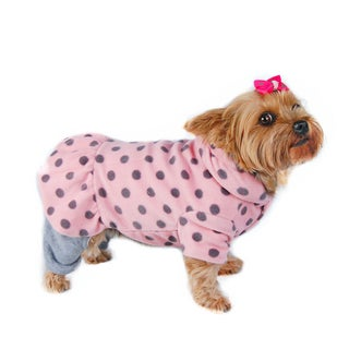 ANIMA Pink and Grey Fleece Dog Pajamas