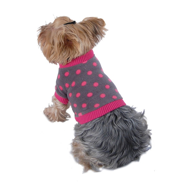 ANIMA Grey and Pink Polka Dot Cotton Fleece Dog and Pet Sweater