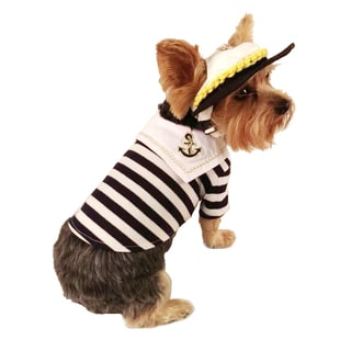 ANIMA Blue and White Striped Sailor Theme Dog and Pet Shirt