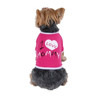 ANIMA I Love Mommy Print Cotton Dog and Pet Shirt