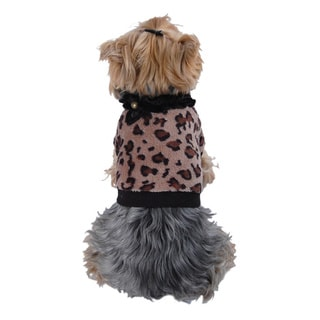 ANIMA Soft Coral Fleece Leopard Print Dog and Pet Sweater