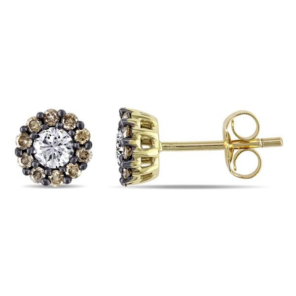 Miadora 14k Yellow Gold 3/5ct TDW White and Brown Diamond Halo Stud Earrings