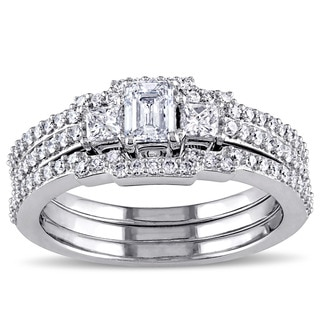 Miadora 10k White Gold 1ct TDW Diamond Emerald Cut Bridal Ring Set (G-H, I1-I2)