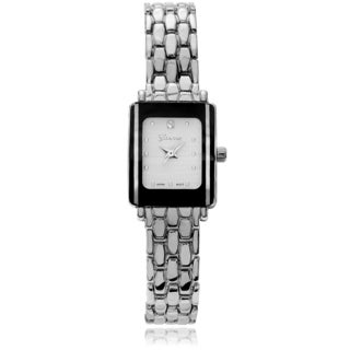 Geneva Platinum Women's Rhinestone Accent Mini Link Watch