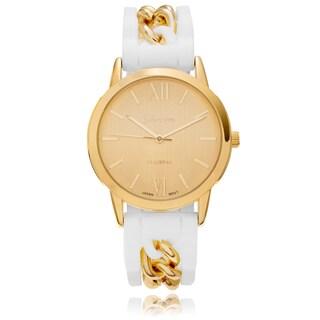 Geneva Platinum Women's Chain Accent Rubber Strap Watch