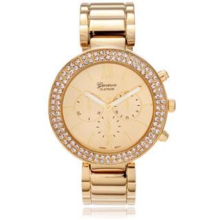Geneva Platinum Women's Rhinestone Accent Hinged Cuff Watch