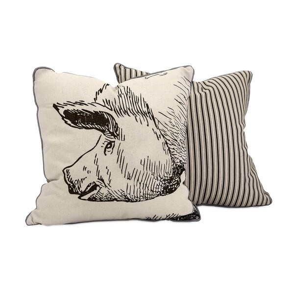 Wilber Pig Embroidered 18-inch Throw Pillow