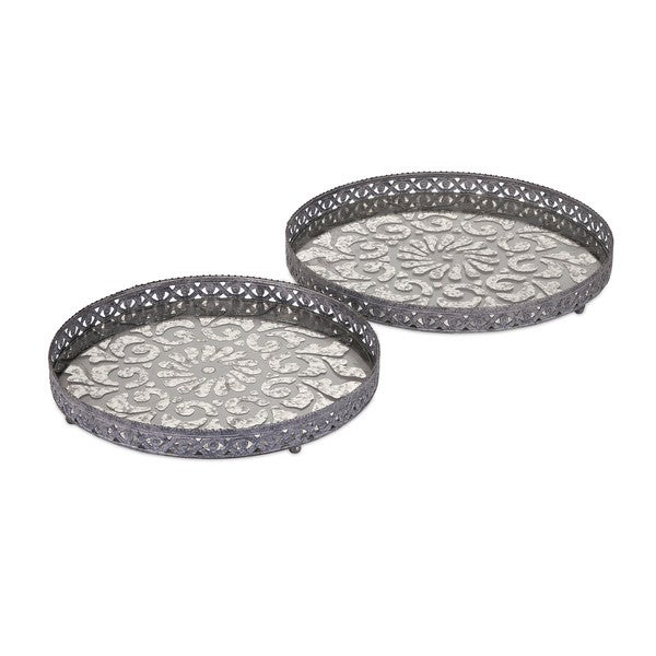 Myers Glass and Metal Trays (Set of 2)