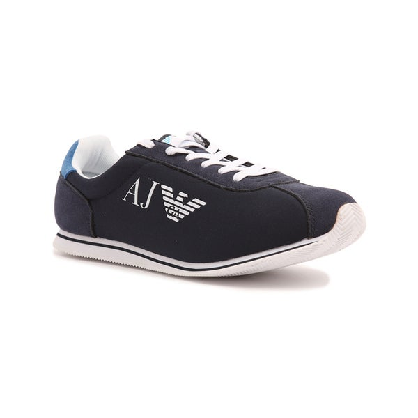Armani Jeans Men's Blue Casual Canvas Logo Fashion Sneakers