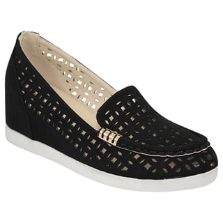Urban Heels Women's PU Laser-Cut Hidden Wedge Slip-On Shoes