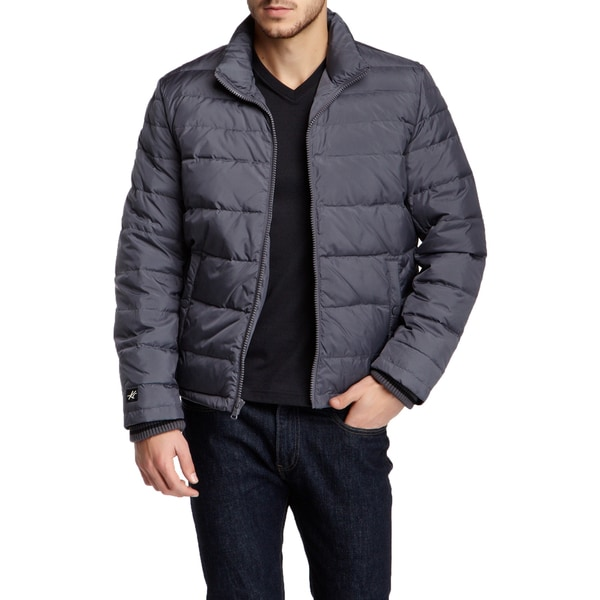 Kenneth Cole New York Men's Silver Grey Quilted Down Puffer Jacket