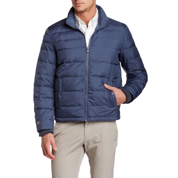 Kenneth Cole New York Men's Blue Quilted Down Puffer Jacket