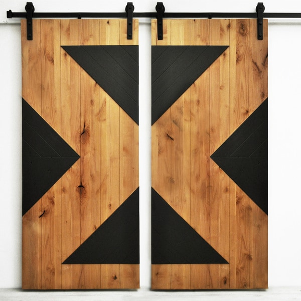 Dogberry zig zag 82 inch double barn overstock shopping for 40 inch barn door