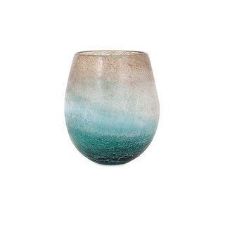 Luna Blue Frosted Short Vase