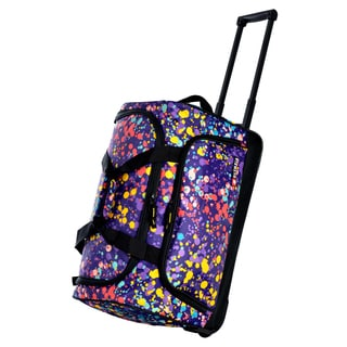 Olympia 21-inch Ink Splatter Fashion Carry-on Rolling Duffel Bag