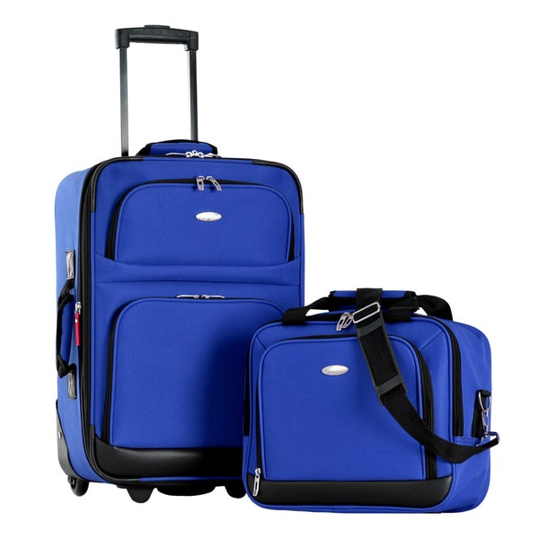 Olympia Let's Travel Blue 2-piece Expandable Carry-on Luggage Set