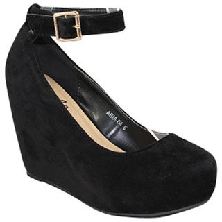 Urban Heels Women's Faux Suede Ankle Strap Wedge Pumps