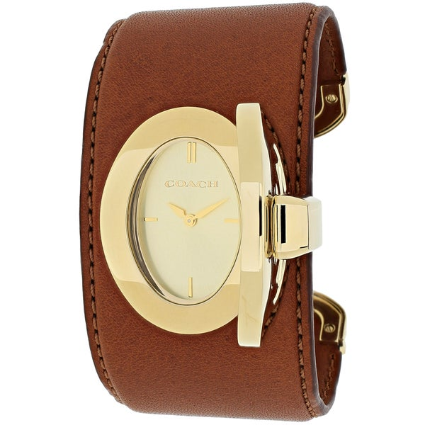 Coach Women's 14502021 Turnlock Cuff PR Oval Brown Bangle Leather Strap Watch