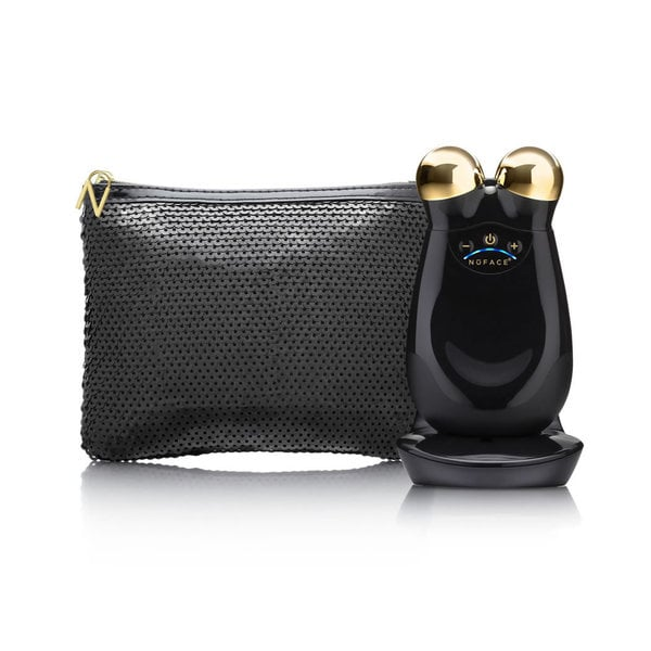 NuFACE Trinity Facial Toning Kit in Chic Black with Bonus Travel Black Sequins Bag