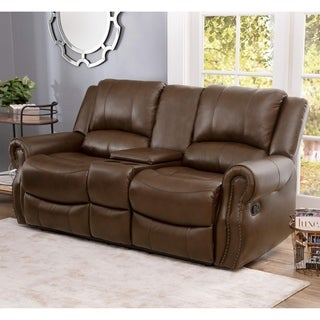 Abbyson Living Calabasas Mesa Camel Leather Reclining Console Loveseat