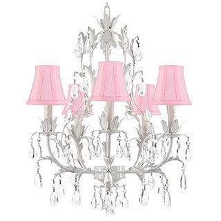 White Wrought Iron and Crystal 5 Light Chandelier with Shades