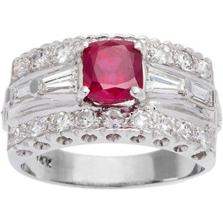 14k White Gold 2ct TDW Unheated Natural Ruby and Diamond Estate Ring (G-H, SI1-SI2) (Size 8)