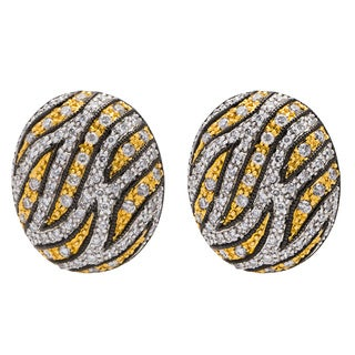 14k Two-tone Gold 1 1/4ct TDW Micropave Diamond Bengal Pattern Estate Earrings (H-I, SI1-SI2)