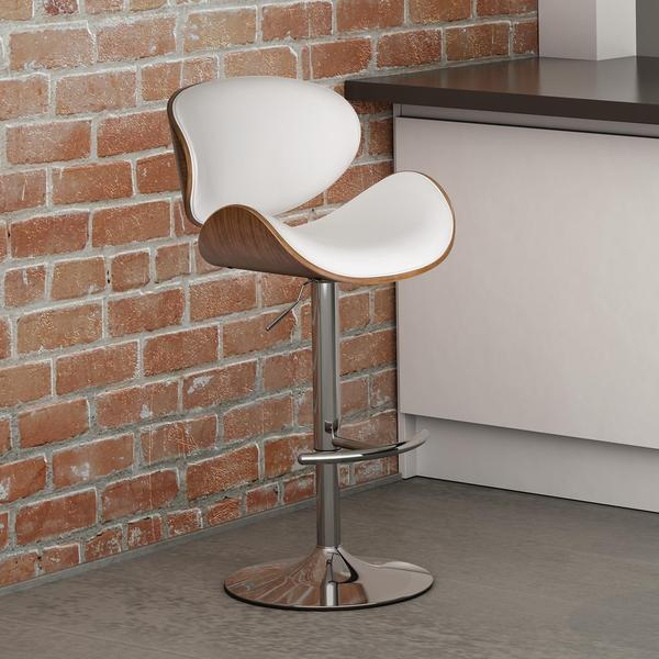 DHP White Faux Leather/ Walnut Lugano Swivel Barstool