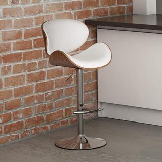 Nueva Mid Century Modern Wenge Wood Adjustable Barstool